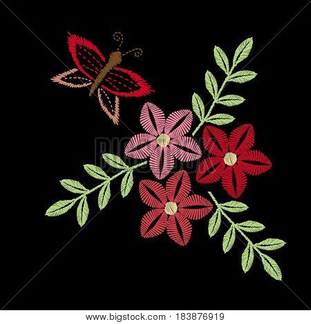 Colorful flower and butterfly embroidery stitches imitation. Floral pattern for neck line on black background. Embroidery vector.