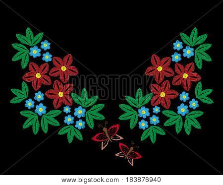 Red and blue flower with butterfly embroidery stitches imitation. Floral pattern for neck line on black background. Embroidery vector.
