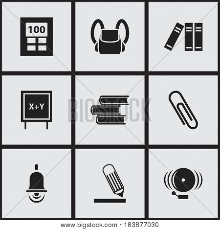 Set Of 9 Editable University Icons. Includes Symbols Such As Alarm Bell, Writing, Schoolbag And More. Can Be Used For Web, Mobile, UI And Infographic Design.