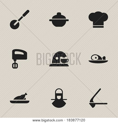 Set Of 9 Editable Cook Icons. Includes Symbols Such As Rocker Blade, Fried Chicken, Agitator And More. Can Be Used For Web, Mobile, UI And Infographic Design.