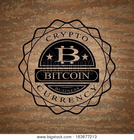Vector illustration of star-shaped bitcoin symbol with cryptocurrency text.