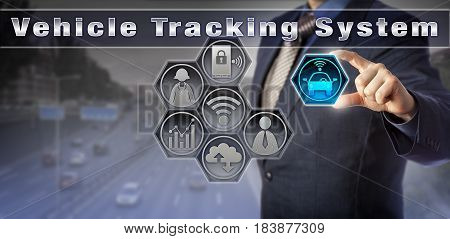 Blue chip manager locating a car via a virtual Vehicle Tracking System user interface. Service industry concept for fleet management asset tracking stolen vehicle recovery and surveillance.