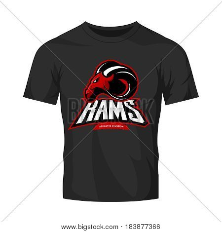 Furious ram sport club vector logo concept isolated on black t-shirt mockup. Modern professional team badge mascot design. Premium quality wild ram animal athletic t-shirt tee print illustration.