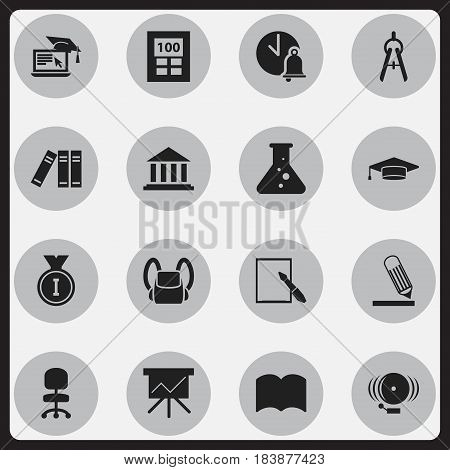 Set Of 16 Editable School Icons. Includes Symbols Such As Dictionary, Notepaper, Distance Learning And More. Can Be Used For Web, Mobile, UI And Infographic Design.