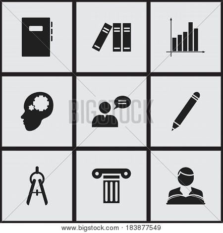 Set Of 9 Editable School Icons. Includes Symbols Such As Thinking Man, Creative Idea, Graph And More. Can Be Used For Web, Mobile, UI And Infographic Design.