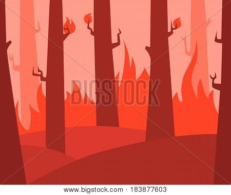 Fire in the forest. Flat design. Vector illustration