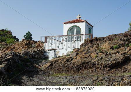 Beautiful view on old church Ermita Del Santo Angel de la Guarda Tenerife Spain