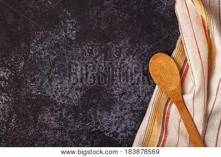 Kitchen Background With Towel And Cooking Tools.