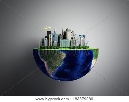 Urbanization Concept With Globe And City On Abstract Green Background By Nasa 3D Rendering On Grey