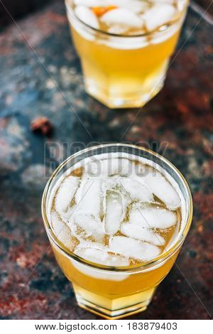 Ginger Beer In Glass On Black Rustic Surface