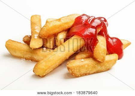 junk food french fries with tomato ketchup isolated on white background