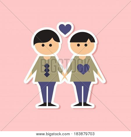 paper sticker on stylish background homosexual gays lovers