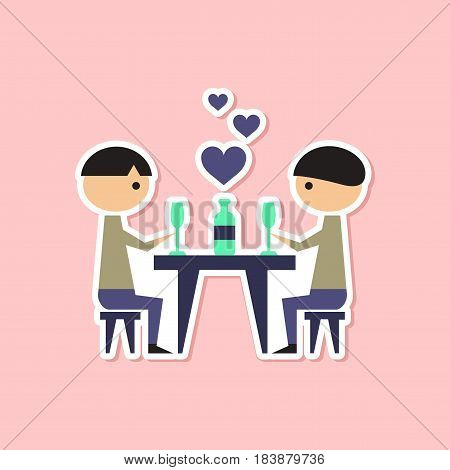 paper sticker on stylish background gays romantic dinner