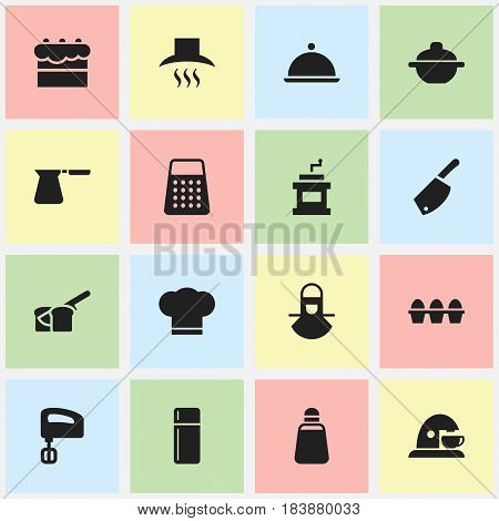 Set Of 16 Editable Meal Icons. Includes Symbols Such As Paprika, Salver, Kitchen Hood And More. Can Be Used For Web, Mobile, UI And Infographic Design.