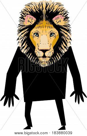 Funny lion dressed up in black,  vector illustration