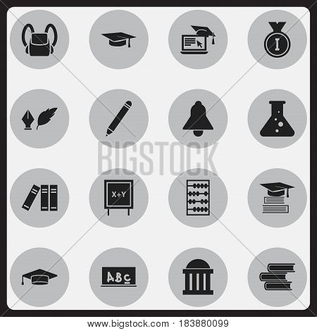 Set Of 16 Editable Science Icons. Includes Symbols Such As Library, Graduate, Arithmetic And More. Can Be Used For Web, Mobile, UI And Infographic Design.