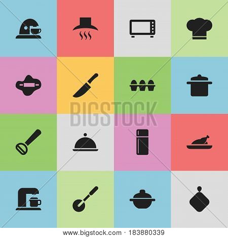 Set Of 16 Editable Meal Icons. Includes Symbols Such As Pot-Holder, Refrigerator, Fried Chicken And More. Can Be Used For Web, Mobile, UI And Infographic Design.