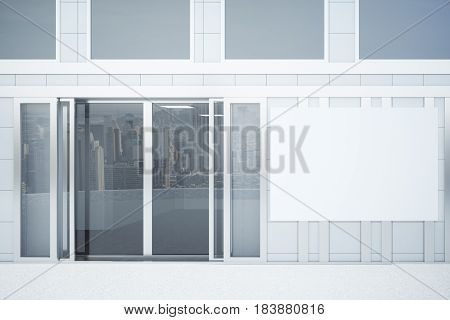 Concrete Tile Building With Poster