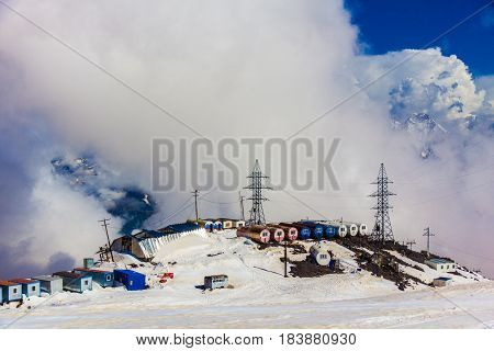 Mount Elbrus, Russia: Panoramic view of the station GaraBashi and the mountains