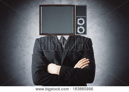 Obsolete TV screen headed man on concrete background. Mock up 3D Rendering