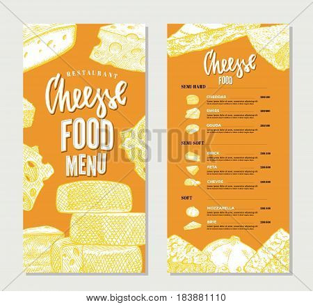 Vintage cheese restaurant menu template with hand drawn products of different sorts and varieties vector illustration
