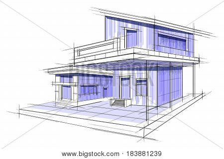 Easy edit vector vector photo free trial bigstock easy to edit vector illustration of sketch of exterior building draft blueprint design malvernweather Image collections
