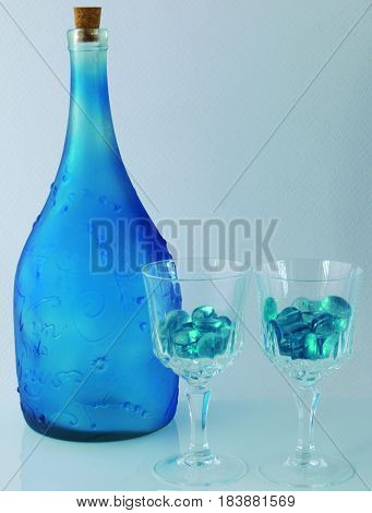 Still life simulating solidified drink in the glasses.