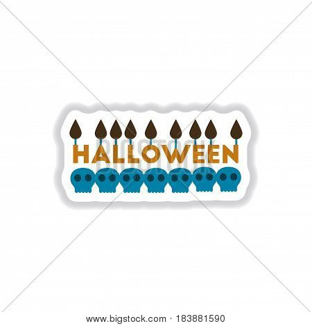 paper sticker on stylish background of candle halloween
