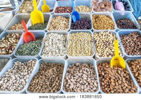 Selection of nuts on the local market