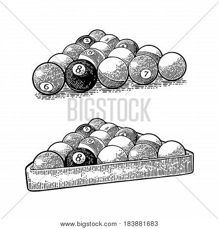 Billiard balls with number in triangle with shadow. Vintage black engraving illustration for poster, web. Isolated on white background.