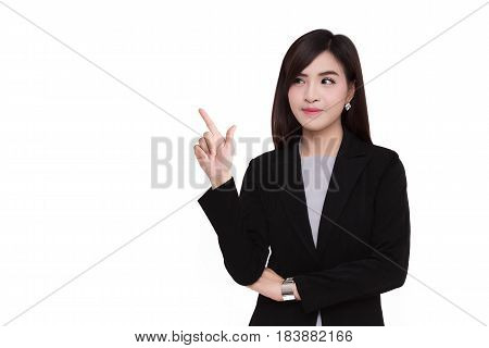 Business women standing in a black suit. Isolated on white.