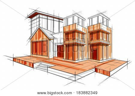 easy to edit vector illustration of sketch of exterior building draft blueprint design