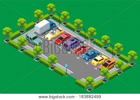 Isometric parking zone concept with trees jeep sedan coupe sport minivan cars and van isolated vector illustration
