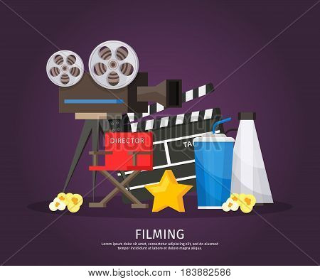 Colorful cinematography template with camera director chair megaphone clapboard soda star and popcorn isolated vector illustration