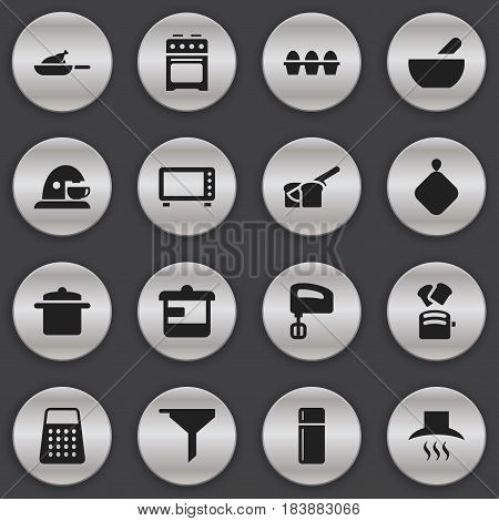 Set Of 16 Editable Food Icons. Includes Symbols Such As Refrigerator, Egg Carton, Slice Bread And More. Can Be Used For Web, Mobile, UI And Infographic Design.