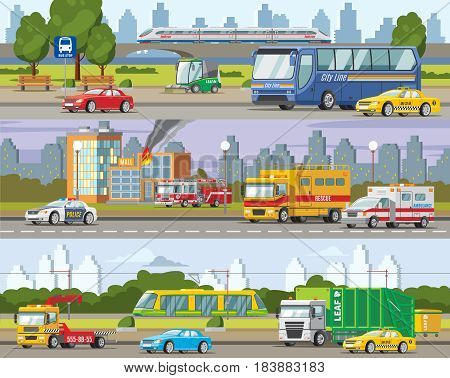 Modern urban traffic horizontal banners with municipal and public transport and vehicles vector illustration