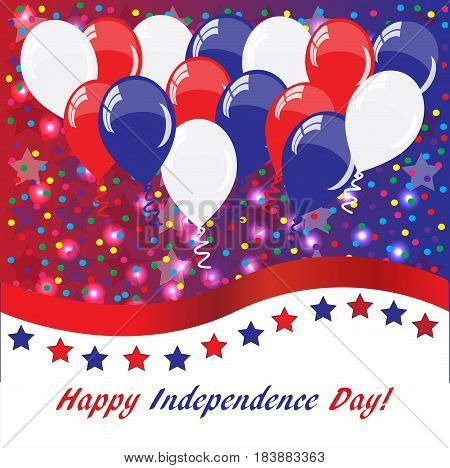 Happy Independence day USA background with balloons American flag colors square Instagram format