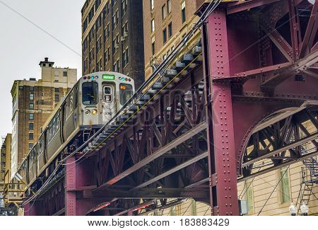 Chicago IL USA october 2016: Elevated commuter train moving in Chicago Illinois