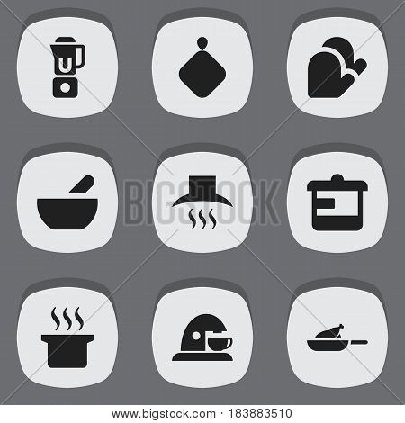 Set Of 9 Editable Cooking Icons. Includes Symbols Such As Pot-Holder, Soup Pot, Kitchen Hood And More. Can Be Used For Web, Mobile, UI And Infographic Design.