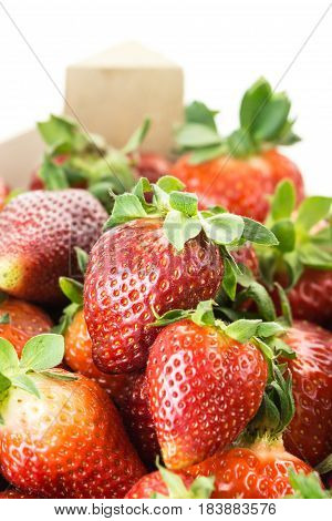 Red Ripe Strawberries, Closeup On White Background