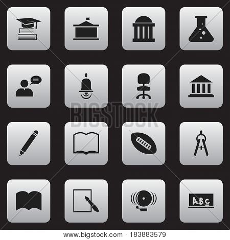 Set Of 16 Editable Graduation Icons. Includes Symbols Such As Chemistry, School Board, Book And More. Can Be Used For Web, Mobile, UI And Infographic Design.