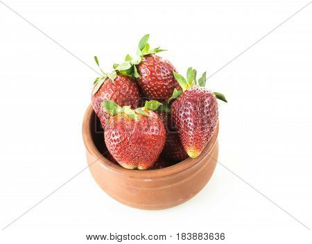 Red Ripe Strawberries In A Bowl, Isolated On White Background.