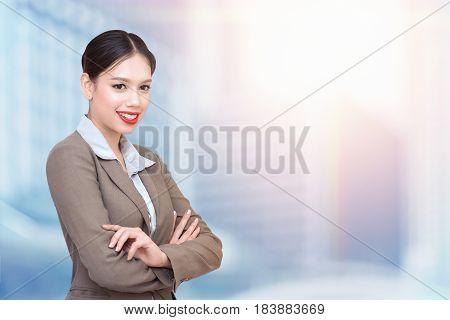 Portrait of happy smiling businesswoman. Double exposure photo of panoramic city