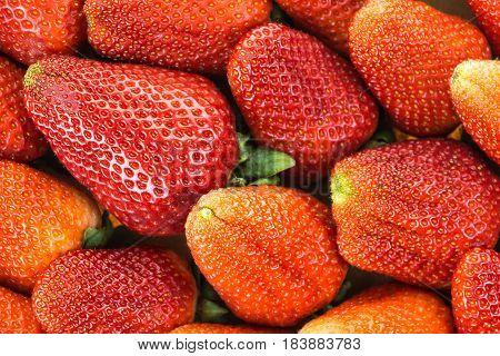 Fresh red ripe strawberries closeup background .