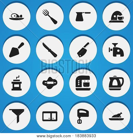 Set Of 16 Editable Food Icons. Includes Symbols Such As Fried Chicken, Cup, Food Shovel And More. Can Be Used For Web, Mobile, UI And Infographic Design.