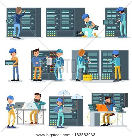 Data center working people set with engineers and technicians fixing problems in server room isolated vector illustration