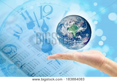 Time, Nature And Environment Concept. Close Up Of Globe On Blue Clock Face Background, World Environ