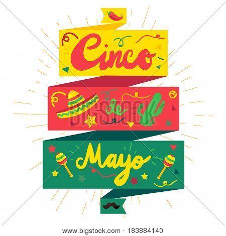 Cinco De Mayo Festival Sticker with chili cactus mustache and sombrero maraca. Festival Poster. Vector