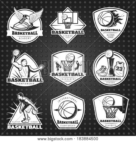 Hand drawn basketball emblems set with sportsmen game equipment trophy on dark dotted background isolated vector illustration