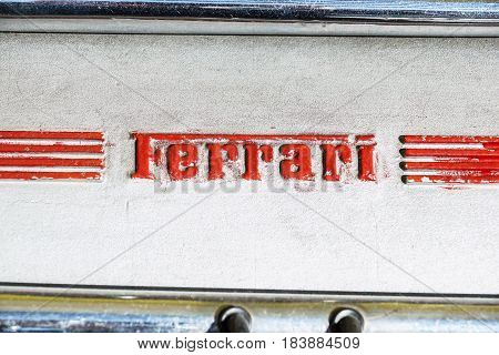 MODENA, ITALY - JULY 09: Logo Ferrari on motor of sport carat Exhibition of Ferrari cars on July 09, 2008 in Modena, Italy.